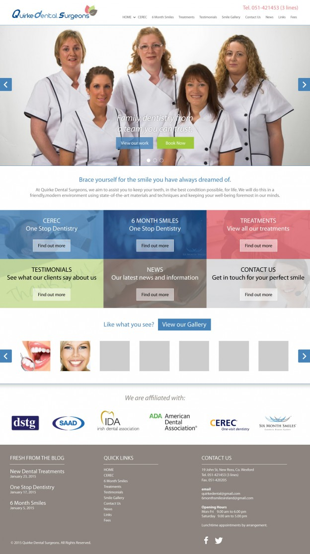 Quirke Dental Surgeons Website - Web Design Wexford