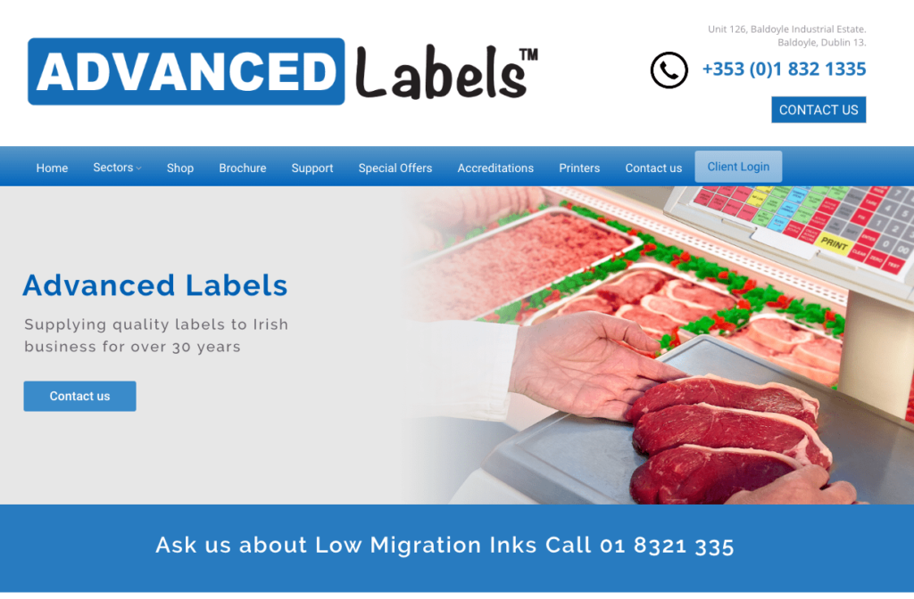 New Website for Advanced Labels Dublin
