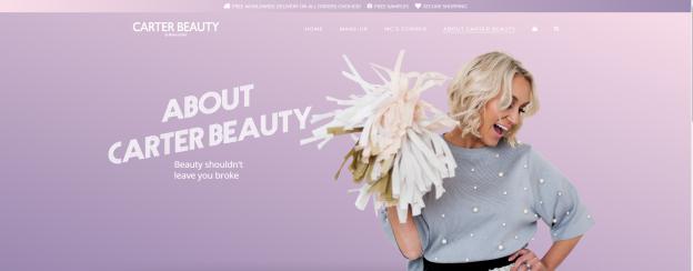 carter beauty website design fullpage